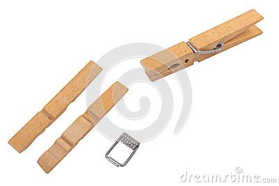 Wood clothespins on white background with cliping path