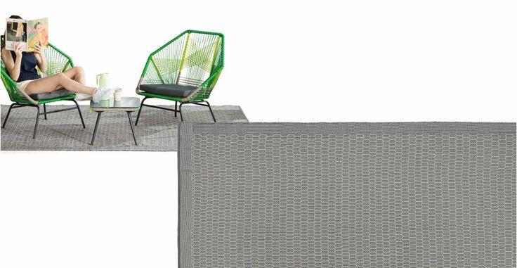 Adny geweven vloerkleed voor buiten 200 x 300cm, grijs en wit | made.com