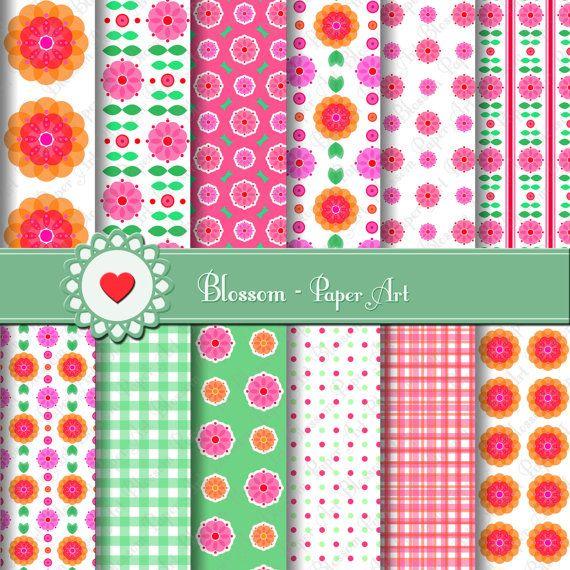 Pink Orange Flowers Digital Printable Paper by blossompaperart, $3.99