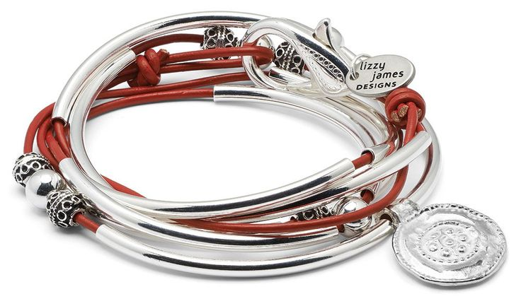 "Summer Silverplated 2 Strand Gloss Red Leather Wrap Bracelet (XXLarge (7 1/2"" - 7 3/4"")). 2 leather strand wrap bracelet that can be worn as a wrap bracelet & necklace. silverplate metal crescents & disc with silverplate clasp. Available in 50+ leather colors. Handmade in the USA."