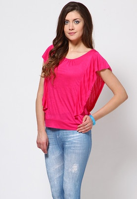 Short Ruffle Sleeve Pink Top Price: Rs 599