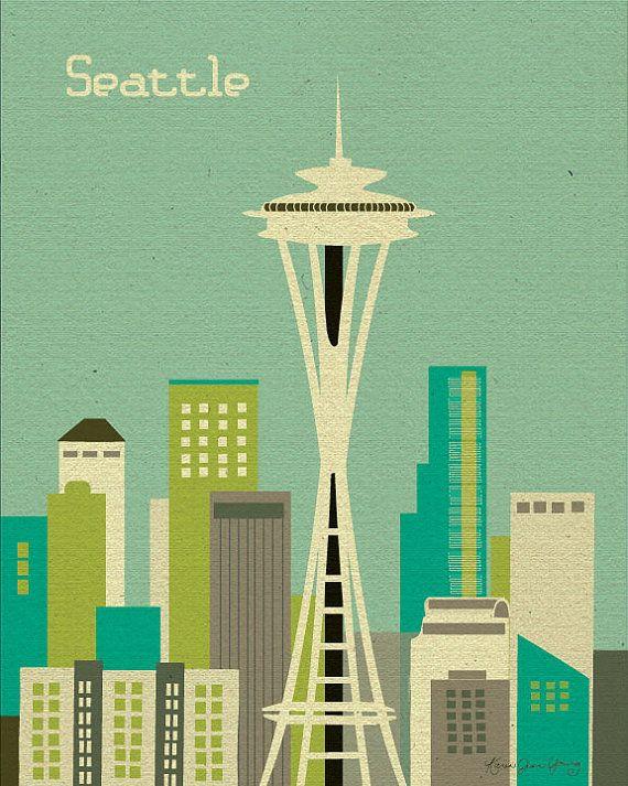 Seattle, Washington Skyline ( style E8-O-SE1 orange,  style E8-O-SE2 teal) - Wall Art  Poster Print Gift
