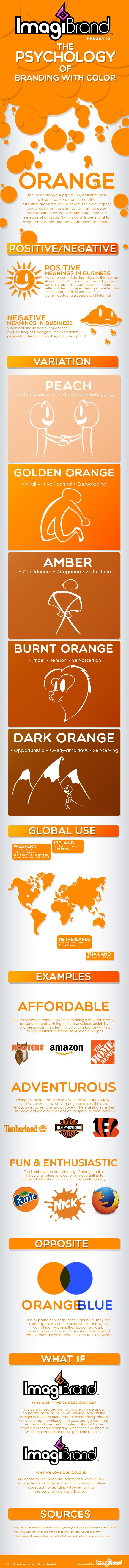 The Psychology of Orange Branding [infographic] #SocialmediaBranding. View full infographic by clicking on the link.
