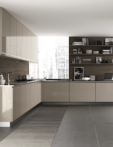 Kitchen design modern interiors minimalism beige deco pinterest grey floor tiles evo Modern kitchen design tiles