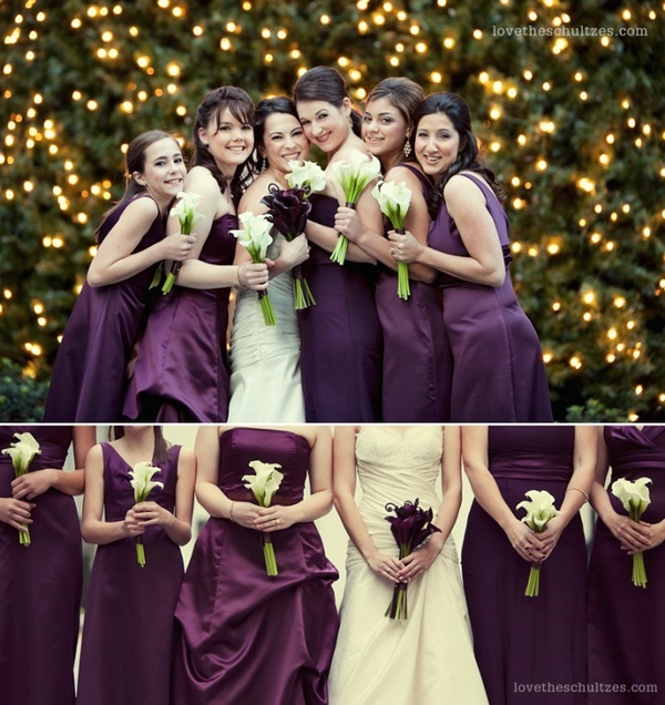 Eggplant Wedding- I love that the bride's bouquet is the color of the bridesmaids' dresses and vice versa.
