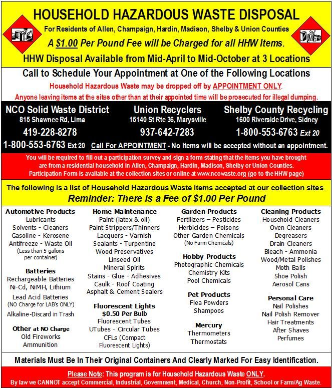 Household Hazardous Waste Disposal for Allen County, OH