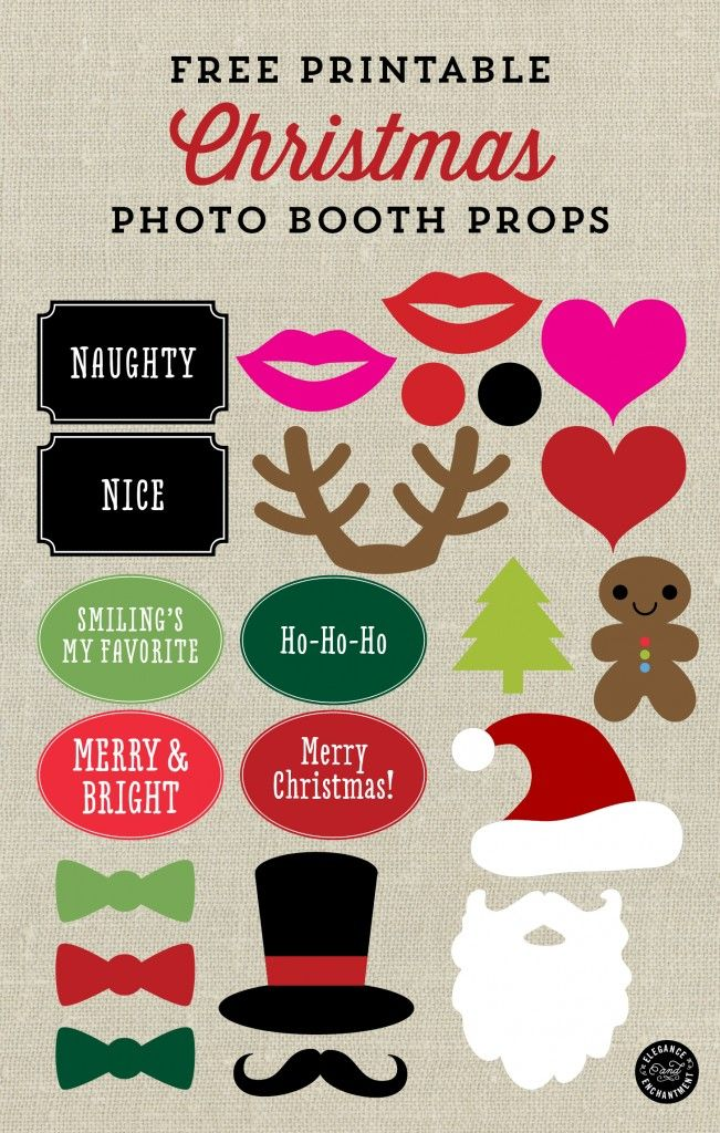 Free Printable Christmas Photo Booth Props and Signs from Elegance and Enchantment