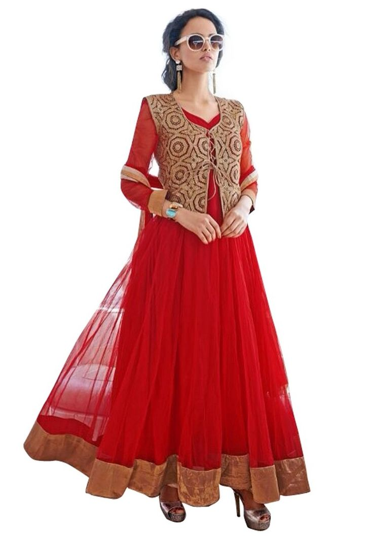 Buy Red Semi Stitched Silk Net And Georgette Anarkali Suit