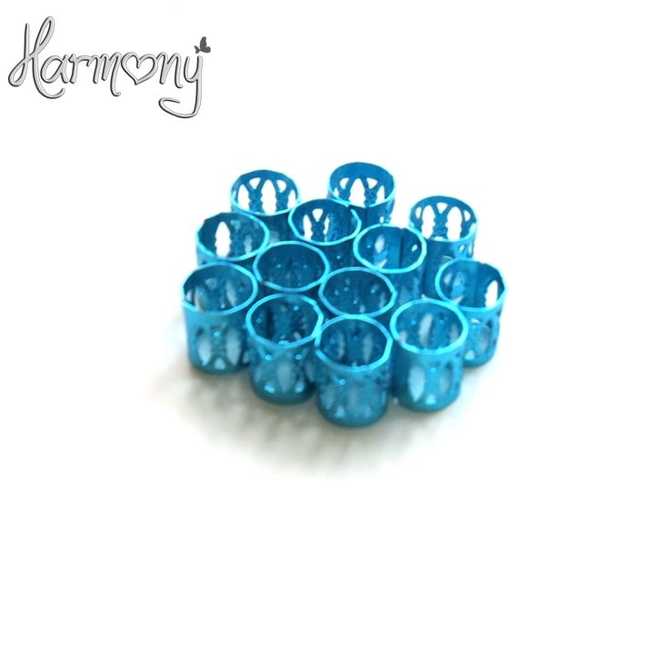 Free shipping 100pcs Blue metal tube ring dreadlock beads for braids hair beads for dreadlocks adjustable hair braid cuff clips