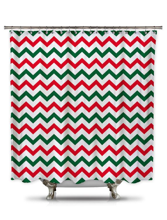 Red and Green Chevron fabric shower curtain