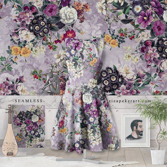 Botanical Flowers Purple Seamless Pattern #botanical #prints #patterns #wallpapers