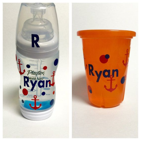 Anchor vinyl customized baby bottle decal snack cup decal sippy cup decal