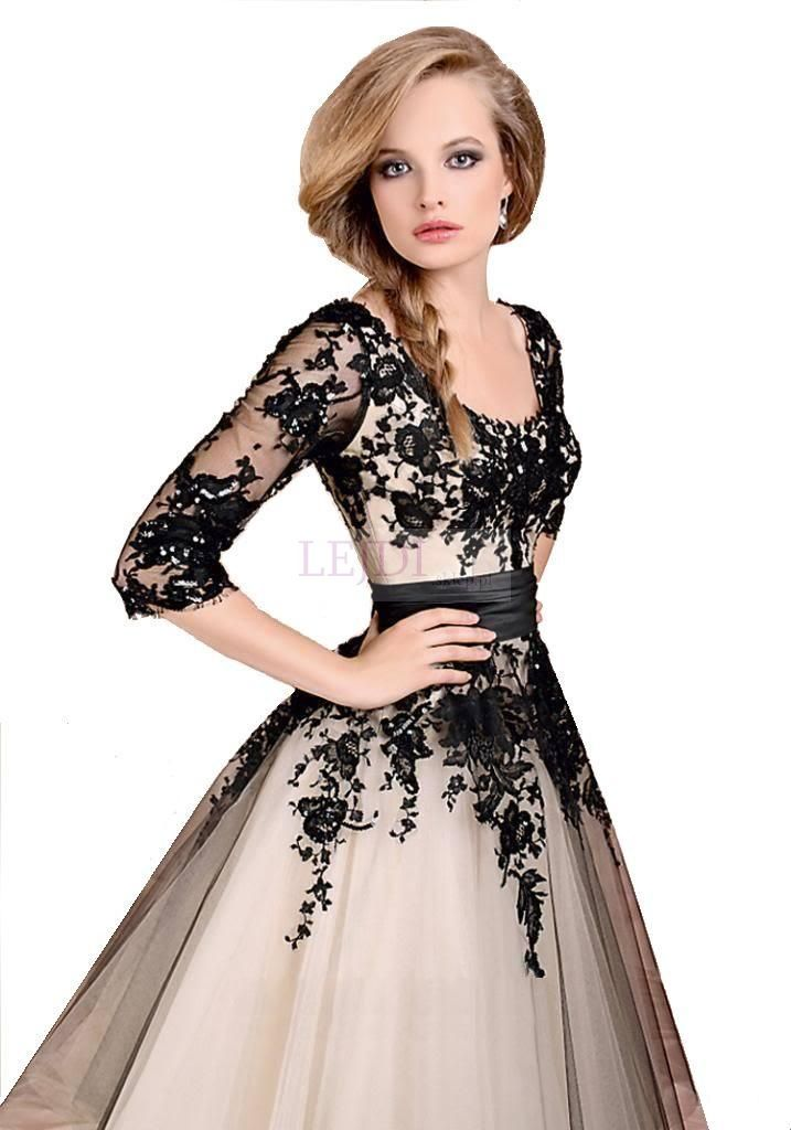 Czarno beżowa  tiulowa sukienka z organzową koronką