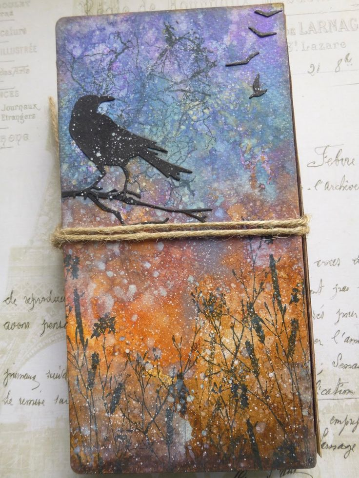 Tim Holtz Distress Oxides and Thinlits on an Eileen Hull Journal by Alison at Words and Pictures