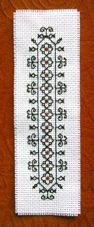 Blackwork - with red at the flower centres, very effective