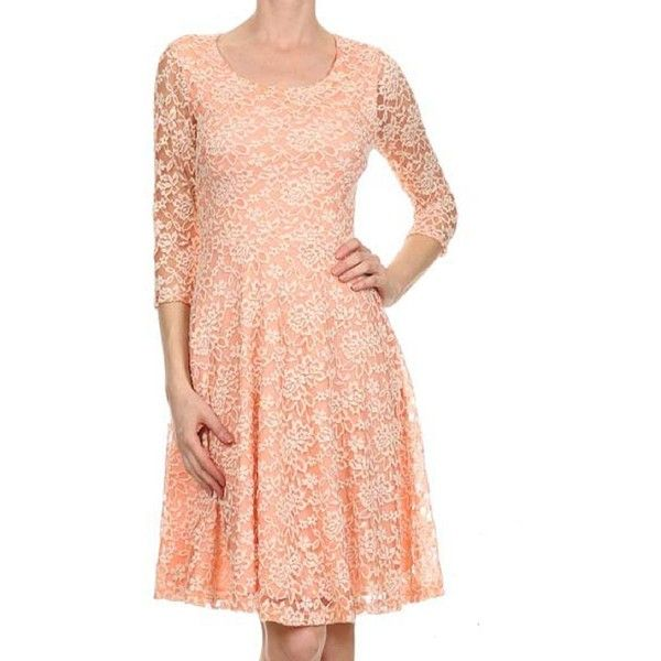 Avital Peach Lace A-line Dress ($45) ❤ liked on Polyvore featuring dresses, orange, orange lace dress, red a line dress, 3/4 sleeve dresses, lace dress and peach dresses