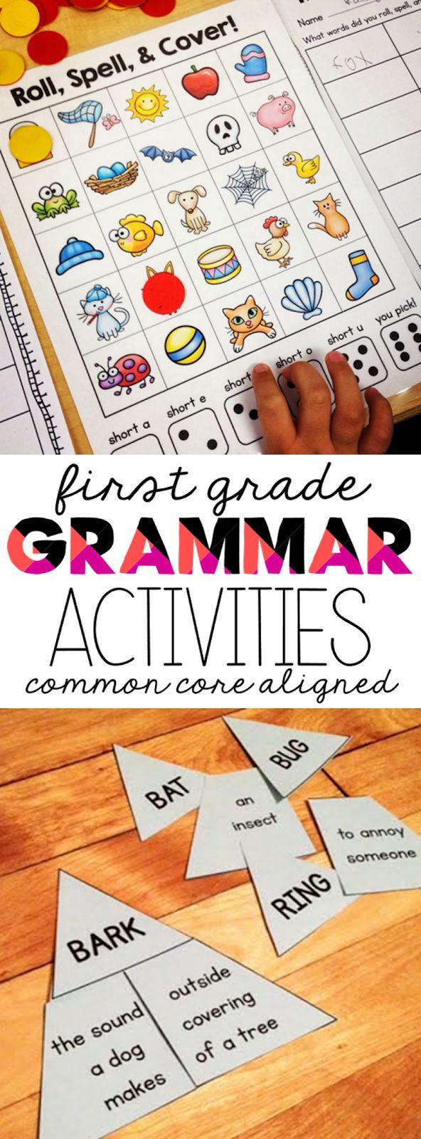 first grade grammar lessons, first grade common core language standards, first grade grammar activities,