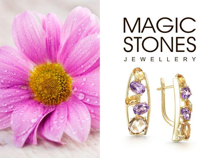 Золотые серьги с миксом камней от MAGIC STONES 🌸👏 Аметист, Цитрин, Кварц арт 02-1-728-21