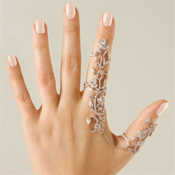 Hot-Selling European American Women Chic Alloy+Rhinestone Shiny Crystal Floral Ring Celebrity Party Connect Full 2 Finger Rings
