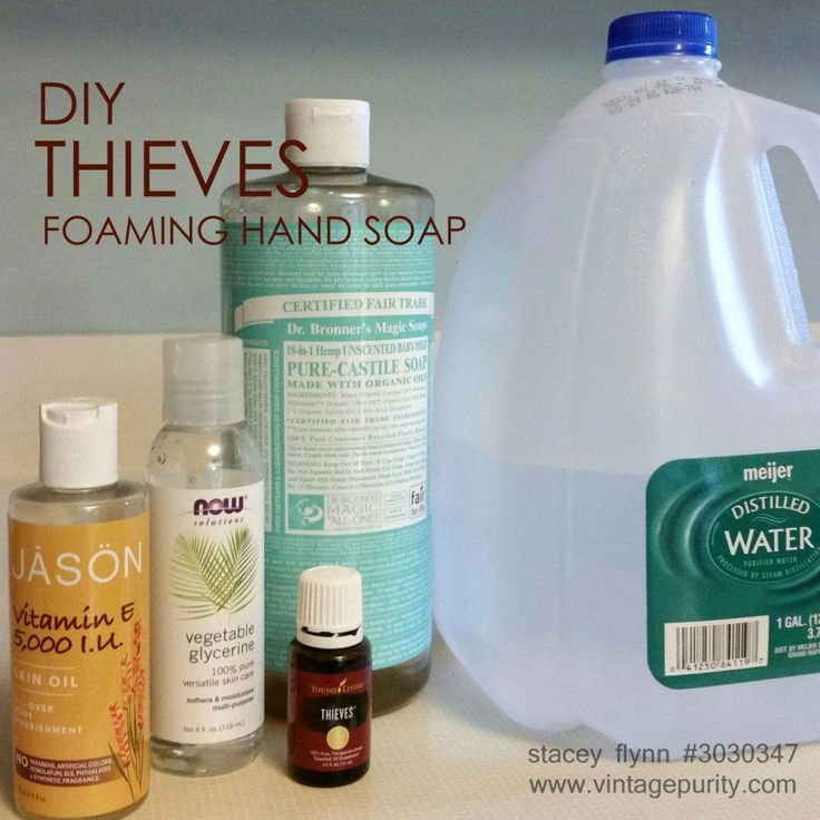 DIY Thieves foaming hand soap. This was my very first recipe I made when I got s… DIY Thieves foaming hand soap. This was my very first recipe I made when I got started with Young Living! The immune boosting properties of thieves make it perfect for hand soap. Traditional hand soap leaves my hands dry and cracked. This has been awesome, even in the winter months! <a class=