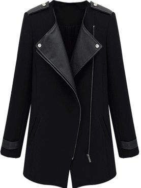 Manteau tendance en similicuir avec zip -noir-French SheIn(Sheinside)