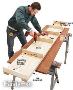 How to Build a Miter Saw Table: Make your own pro-grade miter saw/work table http://www.familyhandyman.com/tools/miter-saws/how-to-build-a-miter-saw-table/view-all