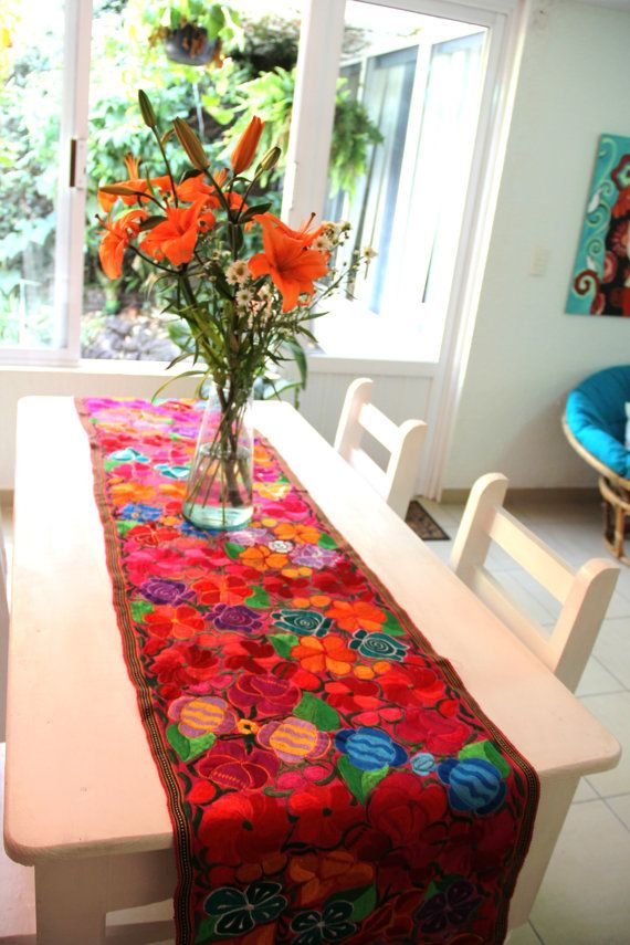 Gorgeous embroidered Chiapas Runner | Runners, Table ...