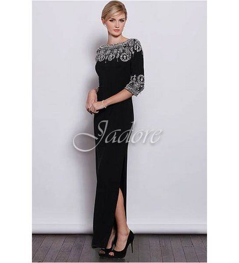 Jadore - Chanelier 3/4 Sleeve Gown  Crystal chandelier top with suede jersey main, 3/4 sleeve featuring crystal edging.    100% Polyester    BUY NOW