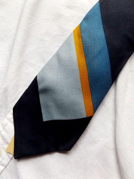 フランス,メンズ,ネクタイ,シルク,ブルー,tailored,ヴィンテージ,1960