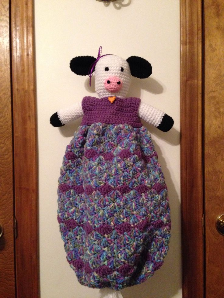 Cow Plastic Bag Holder I Made This Crochet Cow