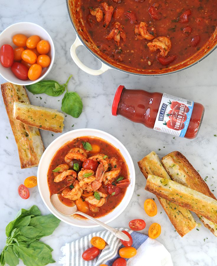 This Buttery Shrimp & Tomato Cioppino features tangy tomato flavors with a kiss of garlic and fresh herbs.