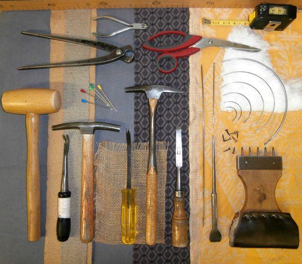 Les outils traditionnel du tapissier