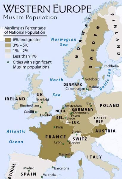 Islam in Europe;There is nothing new about Muslims living in Europe, but the present-day locus of Islam in western Europe derives much more from recent immigration trends than from the influx of Muslims into Spain and the Balkans centuries ago. Albania, Bosnia, and Kosovo in the far southeast are majority Muslim as part of that historic presence, but further west the largest Muslim population is in France. This is largely a consequence of migration into France from the country's former…