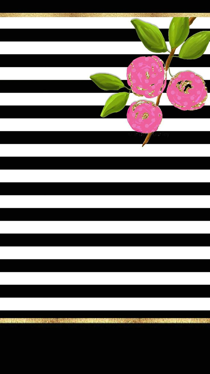 Sweet flowers and stripes preppy c3  Sweet floral and stripes with gold cell phone wallpaper preppy