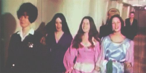 Manson family members Susan Atkins, Patricia Krenwinkel and Leslie Van Houten would frequently act up for the media circus that surrounded the Tate and La Bianca murder trial, dressing up, holding hands, and singing in an attempt to unnerve those watching.