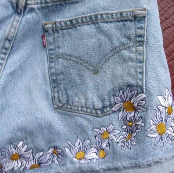 Daisy Daisy Dukes bordado botón vintage 501 volar por bohemianblue