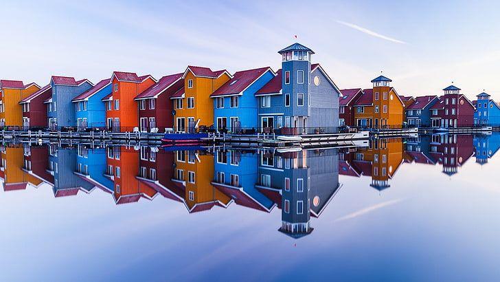 Reitdiep Marina Harbour Scandinavian Scandinavian Buildings Hd Wallpaper Global Gallery Hd Wallpaper Photographic Print