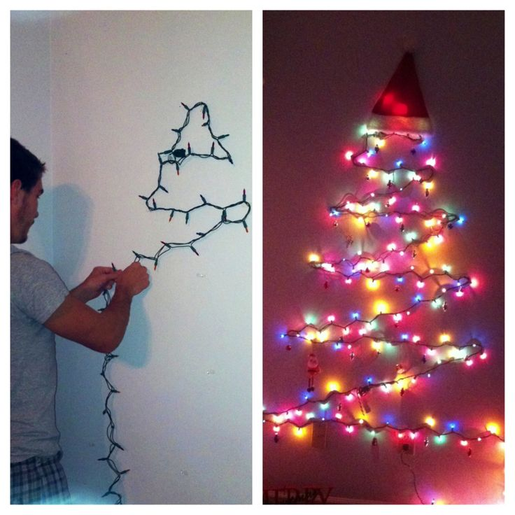 Wall Christmas Tree Using Lights : Lights only wall tree project first Christmas tree using command hooks. Command Hooks ...