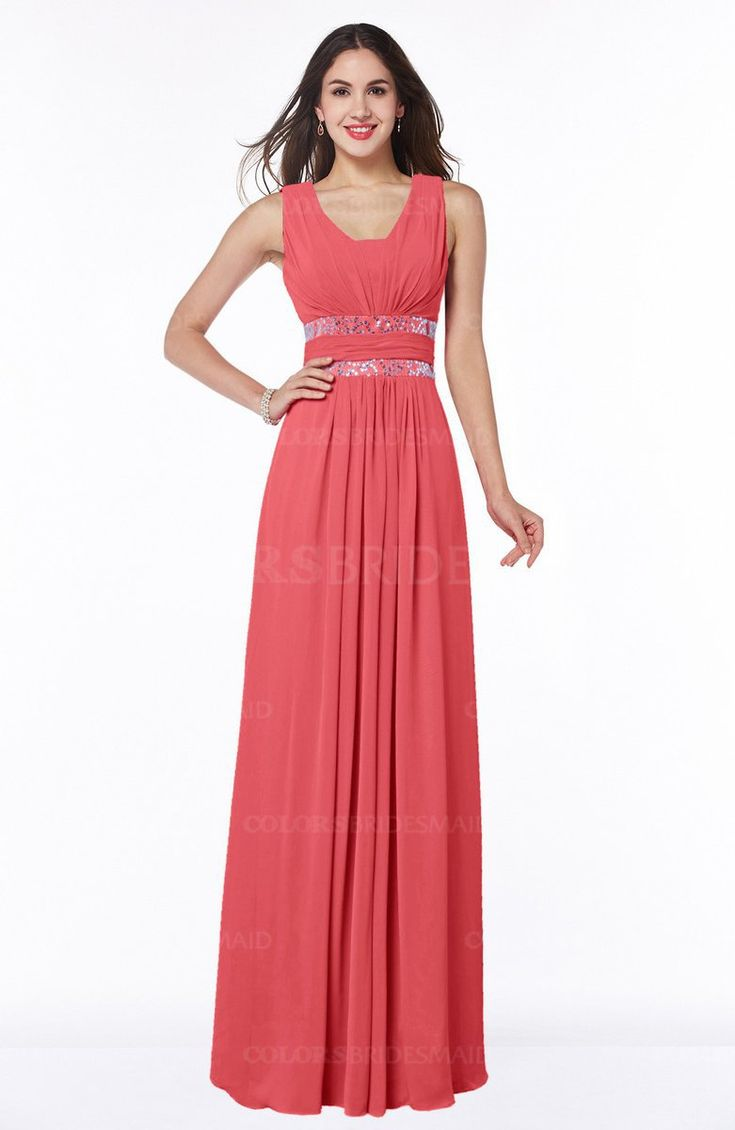 Coral Glamorous A-line Zip up Chiffon Sash Plus Size Bridesmaid Dresses
