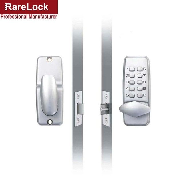 Lhx Waterproof Mechanical Satin Chrome Locks Push Button Keyless Digital Numeral Deadbolt Coded Door Flat Office Lock A Revi Deadbolt Combination Locks Keyless