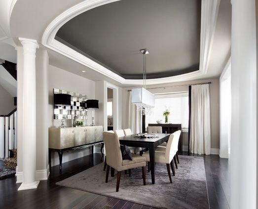 Dark Grey Dining Room Tray Ceiling With Dark Grey