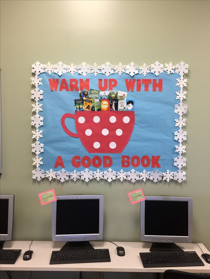 Winter library bulletin board