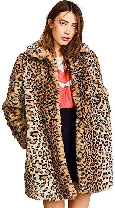 e693d9a6d868 Women Warm Long Sleeve Parka Faux Fur Coat Overcoat Fluffy Top Jacket  Leopard (US 2 = Asian S) at Amazon Women's Coats Shop