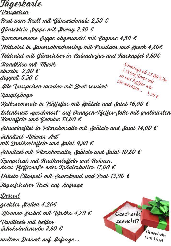 Speisekarte Aktuell Immer Wieder Frisch Und Lecker Gekocht