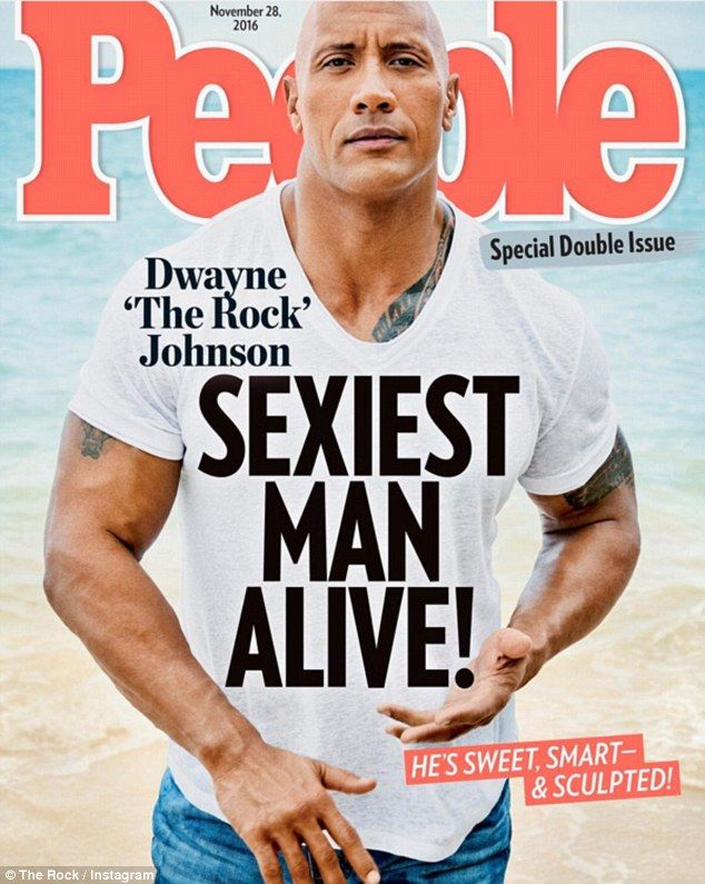 'I'm honored and grateful': Dwayne 'The Rock' Johnson shared his delight on Instagram on Tuesday after he was named People's Sexiest Man Alive for 2016