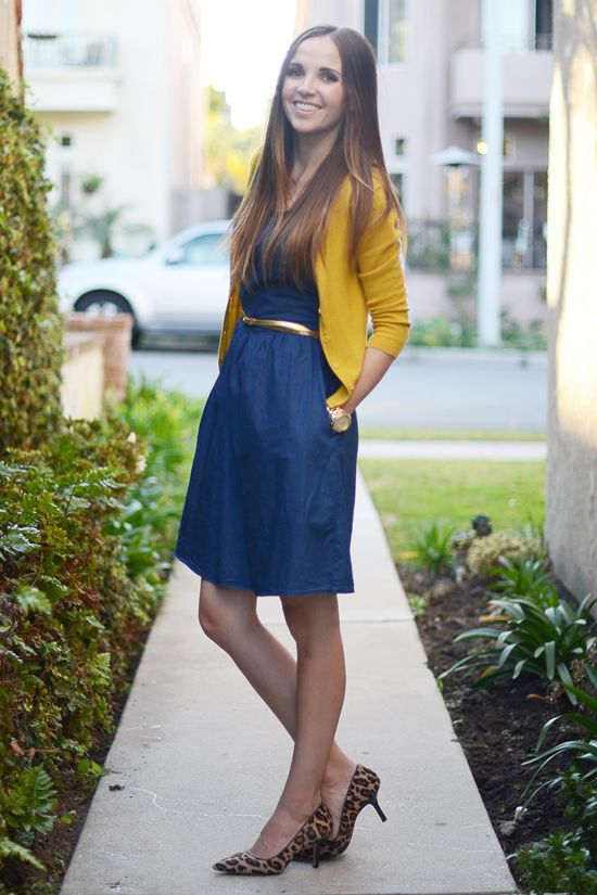 Cropped Cardigans: DO wear them with fit and flare style dresses, or high waisted skirts. The hem of the cardigan should not go more than a few inches past the waist band of your dress or skirt.