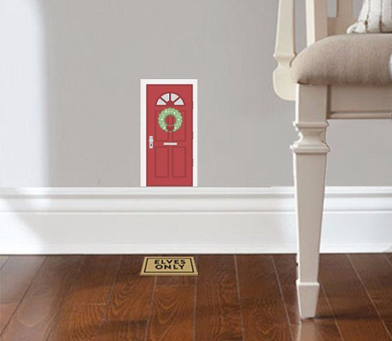 These adorable elf-sized door and mat decals.