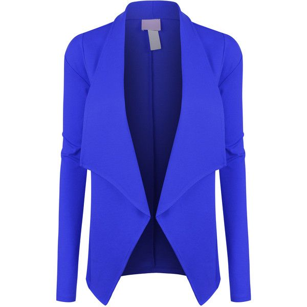 LE3NO Womens Open Front Long Sleeve Tuxedo Blazer Jacket ($23) ❤ liked on Polyvore featuring outerwear, jackets, blazers, blue tux jacket, tux blazer, open front blazer, tux jacket and tuxedo jackets