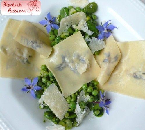 pasta imprimée bourrache et raviole petit pois fève parmesan