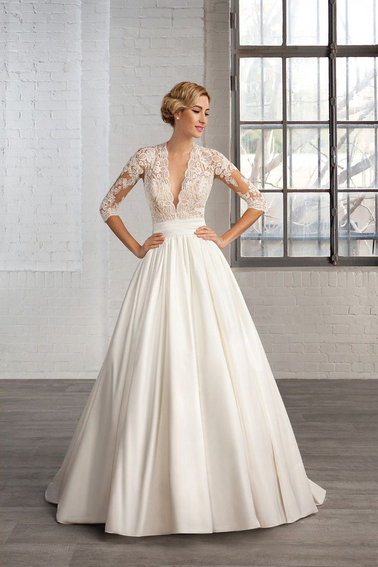 Wedding Dresses, Bridesmaid Dresses, Prom Dresses and Bridal Dresses Cosmobella Wedding Dresses - Style 7746 [7746] - Cosmobella Wedding Dresses, 2016. Matte Satin & Lace bridal gown with scalloped deep V-neckline, illusion sleeves & keyholes in back. Shown in Ivory/Nude/Natural.